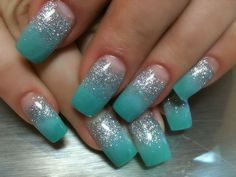 Teal with Silver Acrylic Nail Design Summer 2012 Orange Tree Beauty Centre (Toronto)