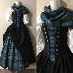 Custom Scottish Girl in Your Family CLAN Wool Tartan Plaid Front Panel Steel Boned Bodice, Top, Scarf and Two Skirts - Custom Size - # Renaissance Fair Costume, Renaissance Clothing, Historical Clothing, Celtic Clothing, Scottish Clothing, Hippie Clothing, Scottish Fashion, Historical Dress, Medieval Costume