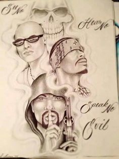 Top-lil g Middle-jay bird Bottom-G Chicano Art Tattoos, Chicano Drawings, Art Drawings, Payasa Tattoo, Clown Tattoo, Prison Drawings, Og Abel Art, Chicano Love, Cholo Art