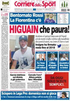 Bentornato Rossi. La Fiorentina c'è. Paura per Higuain incidente a Capri per l'attaccante del Napoli. calciomercato il Milan su Matri. Per l'Inter arrivano 200 milioni   Leggi tutte le news di oggi su www.corrieredellosport.it