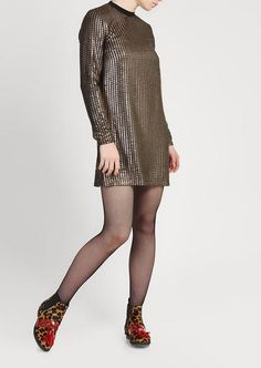 Chainmail Metallic Long Sleeved Shift Dress