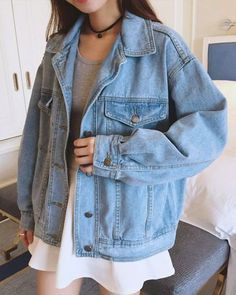Retro Korean Women Oversize Denim Jeans Jacket Boyfriend Style Coat New 9857c671f0