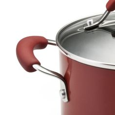 Red KitchenAid aluminum saucepot handles are made of silicone for cool to touch.