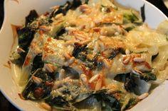 Mangold mit Roquefort überbacken