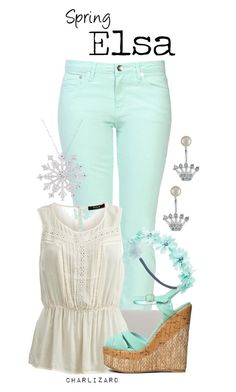 """Elsa"" by charlizard ❤ liked on Polyvore featuring Love Moschino, Whistles, VILA, Qupid, Finesque, Wet Seal, Betsey Johnson, disney, springfashion and frozen"
