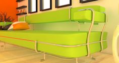 The green sofa by Gjerasimov Trajche. This sofa is made from a soft green material. The structure is made from polished steel that is wrapped all over the green blocks. http://tc8.me/d27f4bd