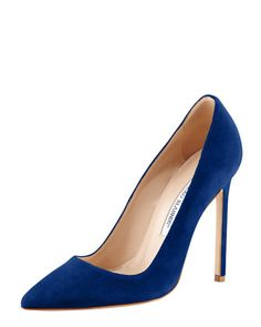 BB Suede Pointed-Toe Pump by Manolo Blahnik at Bergdorf Goodman.  I'd kill for this pump <3
