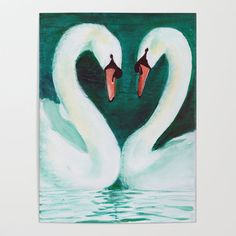 Swans Flirt Art Print by Dominique Gwerder - X-Small Diy Frame, Cool Diy, High Quality Images, Flirting, I Shop, My Design, Vibrant Colors, Swans, Bird