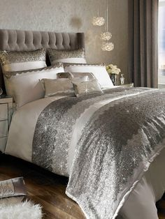 Kylie Minogue Romana Duvet Cover on sale for from original price of at Littlewoods Silver Bedroom Decor, Silver Bedding, Glam Bedroom, Master Bedroom, Kylie Minogue, Beautiful Bedrooms, Bed Spreads, Decor Interior Design, Luxury Bedding