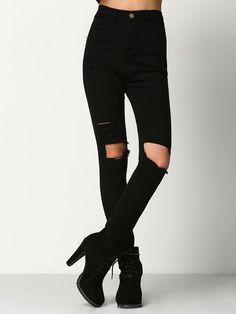 Skinny Jeans mit zerrissenen Design - schwarz- German SheIn(Sheinside)