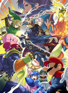 Captain Falcon, Lucina and Robin confirmed for Smash Bros. 4 #WiiU / #3DS - Official Illustration by Yusuke Kozaki