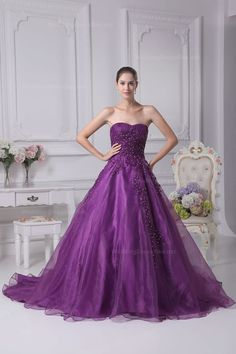 Strapless fulle A-line organza colored wedding dress with court train