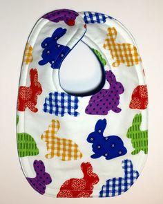 Easter Bunny Bib - Rabbit Bib - Baby Girl Bib - Baby Boy Bib - Dribble Bib - Baby's First Easter Bib - Gender Neutral Baby - Easter Baby by BeastiesBabies on Etsy