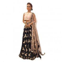 Bhagalpuri Silk Machine Work Black Semi Stitched Lehenga - B60325