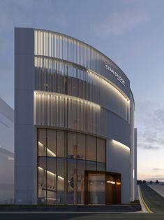 친환경 외장재 볼레톤테라코타판넬은 불연재 마감재이다. 건축설게사무실 건축가들이 인정한 외장재로 각광을 받고 있다. Building Elevation, Building Exterior, Building Facade, Building Design, Archi Design, Facade Design, Facade Architecture, Contemporary Architecture, Parking Building