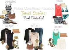 AIRPORT OUTFITJeans + Top + Cover Up + Sandals/Heels BEACH OUTFIT Shorts + Top + Flip FlopsSundress + Flip Flops SIGHTSEEING Shorts/Jeans + Top + SandalsMaxi Dress + Flip Flops DINNER OUTFIT Skirt + Top + Sandals/Heels NIGHTLIFE Dress + Sandals/Heels
