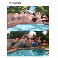 Whoa. I wonder how many tries it took them to get it like that. And my friends and I can barely get a picture of us jumping into the pool regularly.