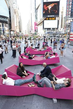Mayer H. Fills Times Square With X-Shaped Lounge Chairs J. Mayer H. Fills Times Square With X-Shaped Lounge Chairs,© Rob Kassabian @ RK Films, rob Mayer H. Fills Times Square With X-Shaped Lounge Chairs,© Rob Kassabian @ RK Films, rob@ City Furniture, Urban Furniture, Street Furniture, Concrete Furniture, Furniture Removal, Urban Landscape, Landscape Design, Plaza Rio, Public Space Design