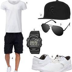 Schwarz-Weißes Männer-Outfit mit Marque Noire Cap, Pilotenbrille, Casio Uhr, weißen Supra Schuhen, Crone Shirt und schwarzen Shorts.