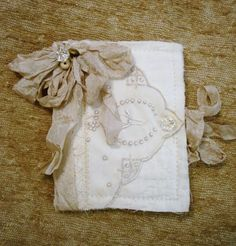 Fabric art journal. <3 - embroidered hankie? What time of day do you love to create