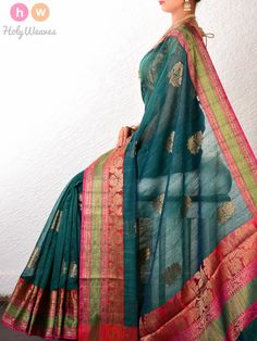 Green Muga Cotton Banarasi Boota Cutwork Brocade Woven Saree - HolyWeaves