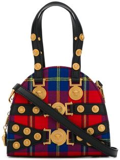 bbfd817ab90e Shop Versace red Tribute tartan leather and cotton bag. Cotton Bag