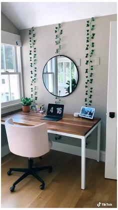 Cute Bedroom Decor, Room Design Bedroom, Room Ideas Bedroom, Teen Bedroom Desk, Ikea Room Ideas, Teen Room Furniture, Student Bedroom, Neon Bedroom, Student Apartment
