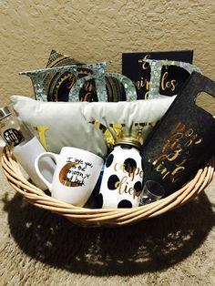 #sorority basket #sorority #crafts #gold #gamma phi beta #letters #big little #gift