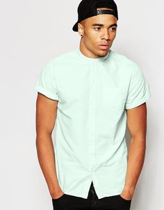 New Look Short Sleeve Acid Wash Shirt with Grandad Collar