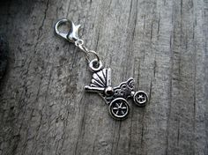 Silver Baby Stroller Charm  Midori Charm  by PohakantenJournals