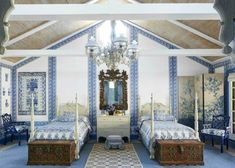 In the Blue Room | ZsaZsa Bellagio - Like No Other. Custom blue and white Indian fabric covered walls and matching bedspreads are anchored by a a blue and white geometric rug in the guest bedroom of Hutton Wilkinson's Malibu Ranch.