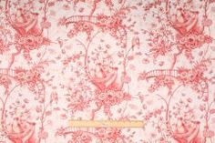 Duralee Tree Top Toile Printed Cotton Drapery Fabric in Red $10.95 per yard