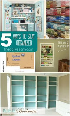 Keep your sewing space organized. These tips are great for any size space.