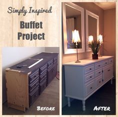 Old cabinet re-purposed into a buffet