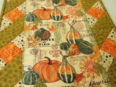 Autumn Fall Thanksgiving Pumpkin Gourd Quilted by countrysewing4U