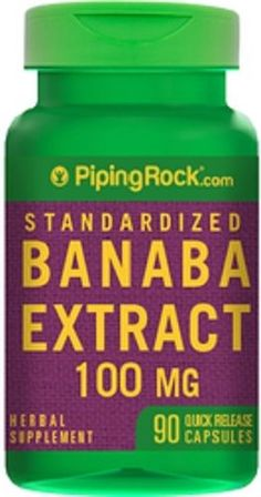 STANDARDIZED BANABA EXTRACT 100 MG HERBAL SUPPLEMENT 90 QUICK RELEASE CAPSULES