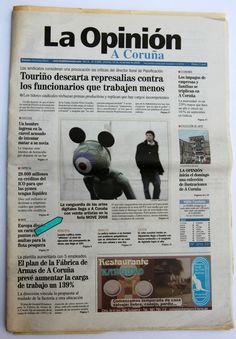 Diario 'La Opinión' A Coruña. Sobre proyecto MOVE New Media de fündc, comisariado por Nilo Casares. 14.11.2008 Event Ticket, Cover, Diary Book