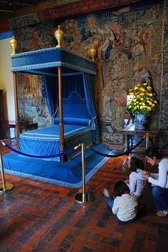 1575-1589 Chateau de Chambord Loir-et-Cher Val de Loire France. Royal blue and cyan silk
