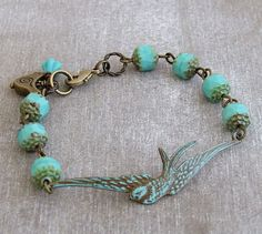 Swallow Bracelet .. turquoise bracelet bird by beadishdelight