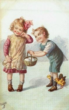 boy hold out egg basket to girl who looks coyly away, three chicks around his feet - TuckDB Postcards Easter Illustration, Antique Illustration, Vintage Pictures, Vintage Images, Easter Parade, Easter Art, Vintage Paper Dolls, Vintage Easter, Vintage Cards
