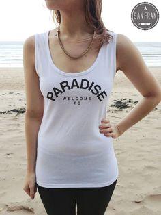 * WELCOME TO PARADISE Rita Ora VEST T-shirt top White FASHION Retro 90 s Style *
