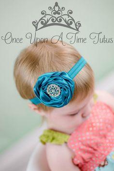 Teal Satin Swirl Flower Headband Newborn by OnceUponATimeTuTus