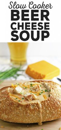 This slow cooker beer cheese soup is super easy to make! It combines sharp cheddar cheese, cream cheese and beer and is delicious for lunch or dinner. Serve it with crusty bread or like me, in a sour dough bread bowl! hearty recipe for winter days Crock Pot Soup, Crock Pot Slow Cooker, Slow Cooker Recipes, Crockpot Recipes, Cooking Recipes, Bread Crockpot, Beer Soup, Beer Cheese Soups, Beer Recipes