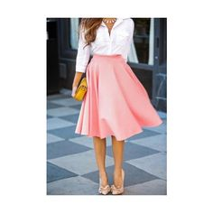 New Fashion Stylish Lady Women's Casual A-Line Pleated Midi Skirt ($6.46) ❤ liked on Polyvore featuring skirts