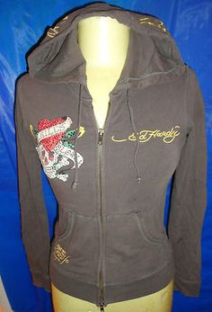 Don Ed Hardy Designer Embellished Love Kills Slowly Zip Front hooded Jacket XS Ed Hardy Perfume, Ed Hardy Designs, Don Ed Hardy, Hooded Jacket, Super Cute, Zip, Hoodies, My Style, Crosses