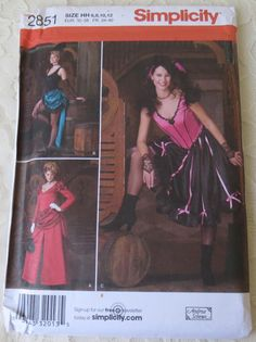 Simplicity 2851 Costume Patterns Historical Western Saloon, Can Can Girl Womens Size 6-12