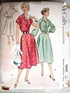 "McCalls Dress Pattern No 9049 UNCUT Vintage 1952 Size 16 Bust 34"" Raglan Short or Long Sleeves Shirtwaist Flared Skirt Front Button Side Zip. $12.00, via Etsy."