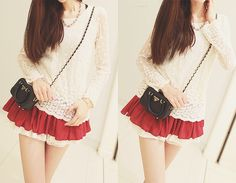 """red lace trim skirt ✮✮Feel free to share on Pinterest"""" ♥ღ www.UNOCOLLECTIBLES.COM"""