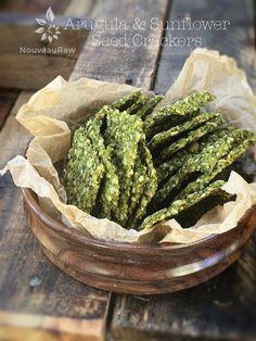 Arugula and Sunflowe  Arugula and Sunflower Seed Crackers (raw, vegan, gluten-free, nut-free)  https://www.pinterest.com/pin/200480620891251278/   Also check out: http://kombuchaguru.com
