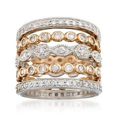 Ross-Simons - 2.60 ct. t.w. CZ Jewelry Set: Five Eternity Bands in Two-Tone Sterling Silver - #769944